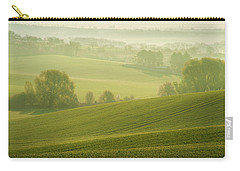 Carry-all Pouch featuring the photograph Green Foggy Waves by Jenny Rainbow