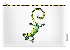 Carry-all Pouch featuring the painting Green Gecko  by Darice Machel McGuire