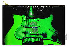 Carry-all Pouch featuring the photograph Green Guitar Full Time Occupation by Guitar Wacky