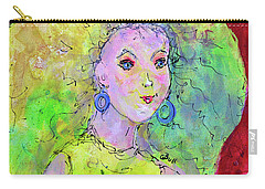 Carry-all Pouch featuring the painting Green Hair Don't Care by Claire Bull