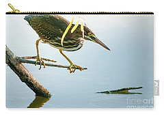 Green Heron Sees Minnow Carry-all Pouch by Robert Frederick