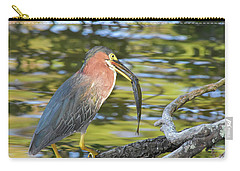 Green Heron With Fish Carry-all Pouch