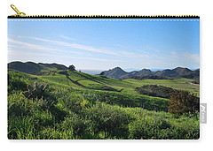 Carry-all Pouch featuring the photograph Green Hills Landscape With Cactus by Matt Harang