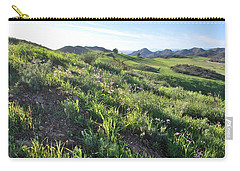 Carry-all Pouch featuring the photograph Green Hills Purple Flowers - Rocky View by Matt Harang