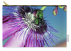 Green Hover Fly On Passion Flower Carry-all Pouch