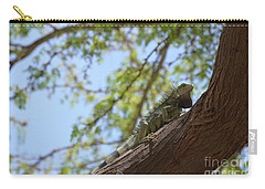 Green Iguana Climbing Up The Trunk Of A Tree Carry-all Pouch by DejaVu Designs