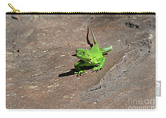 Green Iguana Creeping Across A Rock Carry-all Pouch by DejaVu Designs