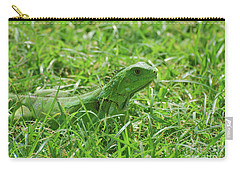 Green Iguana In Thick Grass Carry-all Pouch by DejaVu Designs