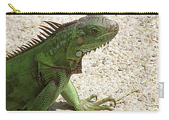 Green Iguana On A Pathway Carry-all Pouch by DejaVu Designs