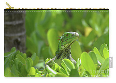 Green Iguana Peaking Out Of A Shrub Carry-all Pouch by DejaVu Designs
