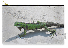Green Iguana Walking Across A Pathway On The Beach Carry-all Pouch by DejaVu Designs