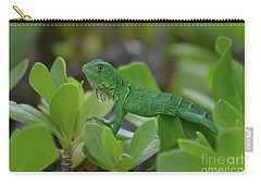 Green Iguana Walking On The Tops Of A Shrub Carry-all Pouch by DejaVu Designs