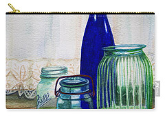 Carry-all Pouch featuring the painting Green Jars Still Life by Marilyn Smith