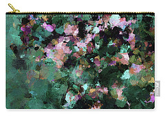 Carry-all Pouch featuring the painting Green Landscape Painting In Minimalist And Abstract Style by Ayse Deniz