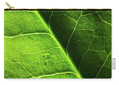 Carry-all Pouch featuring the photograph Green Leaf Veins by Ana V Ramirez