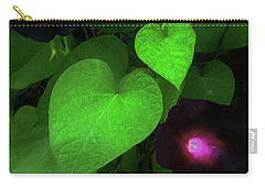 Carry-all Pouch featuring the photograph Green Leaf Violet Glow by Roger Bester