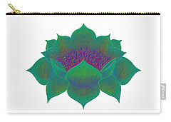 Carry-all Pouch featuring the digital art Green Lotus by Elizabeth Lock