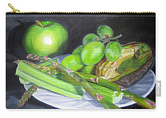Green On White Carry-all Pouch