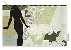 Green Paper Doll Carry-all Pouch