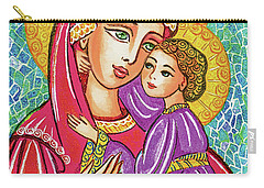 Carry-all Pouch featuring the painting Green Ray Madonna by Eva Campbell