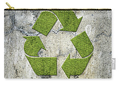 Green Recycling Sign On A Concrete Wall Carry-all Pouch by GoodMood Art