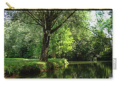Carry-all Pouch featuring the photograph Green Reflections by Cristina Stefan
