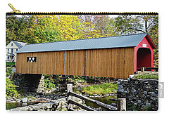 Carry-all Pouch featuring the photograph Green River Covered Bridge - Southern Vermont by Joseph Hendrix