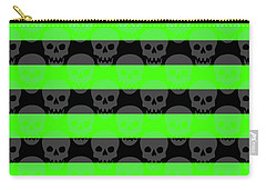 Green Skull Stripes Carry-all Pouch