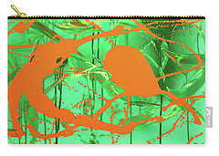 Carry-all Pouch featuring the painting Green Spill by Thomas Blood