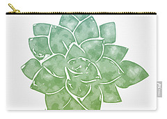Carry-all Pouch featuring the mixed media Green Succulent 1- Art By Linda Woods by Linda Woods