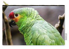 Green Tropical Parrot, Side View. Carry-all Pouch