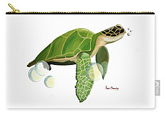 Carry-all Pouch featuring the painting Green Turtle by Anne Beverley-Stamps