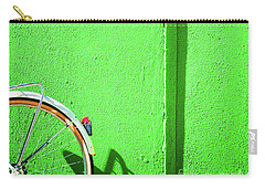 Carry-all Pouch featuring the photograph Green Wall And Bicycle Wheel by Silvia Ganora