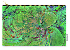 Carry-all Pouch featuring the digital art Green World Abstract by Deborah Benoit