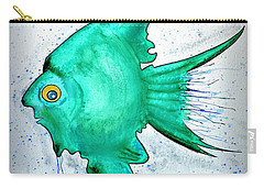 Carry-all Pouch featuring the mixed media Greenfish by Walt Foegelle