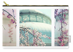 Carry-all Pouch featuring the photograph Greenhouse Blossoms Triptych by Jessica Jenney
