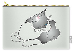 Grey And White Cat In Profile Graphic Carry-all Pouch