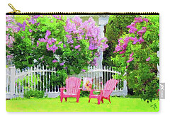 Carry-all Pouch featuring the painting Grey Cottage In Early Summer by Desiree Paquette
