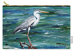 Grey Heron Of Cornwall -painting Carry-all Pouch