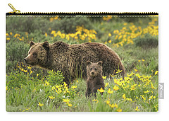 Grizzlies In The Wildflowers Carry-all Pouch