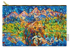 Carry-all Pouch featuring the painting Grizzly Catch In The Tetons by Dan Sproul