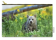 Carry-all Pouch featuring the photograph Grizzly Cub Snow In The Flowers by Yeates Photography