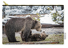 Grizzly Cub With Mother Carry-all Pouch