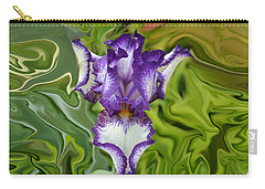 Carry-all Pouch featuring the photograph Groovy Purple Iris by Rebecca Margraf