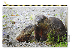 Carry-all Pouch featuring the photograph Groundhog Kiss by Betty-Anne McDonald