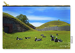Group Of Birds Resting In The Bright Green Grass. Carry-all Pouch