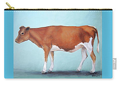 Guernsey Cow Standing Light Teal Background Carry-all Pouch