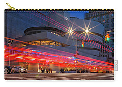 Carry-all Pouch featuring the photograph Guggenheim Museum Nyc Light Streaks by Susan Candelario