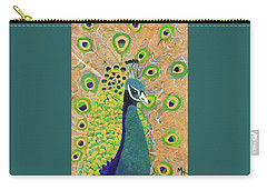 Carry-all Pouch featuring the painting Guilded Peacock by Margaret Harmon