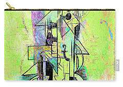Guitar Abstract In Green Carry-all Pouch